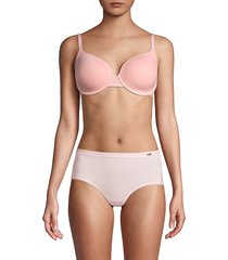 le mystere women's second skin back-smoothing underwire bra - platinum grey - size 34 e