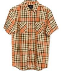 junk food men's kaine short sleeve plaid shirt