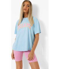 oversized overdye miami t-shirt, light blue