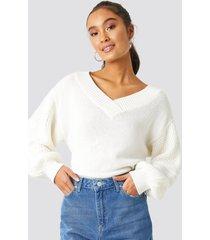 trendyol balloon sleeve light sweater - white