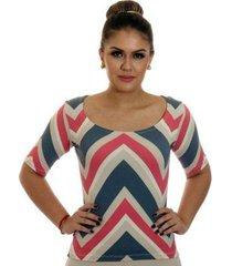 blusa ficalinda meia manga estampa zig zag red decote redondo feminina