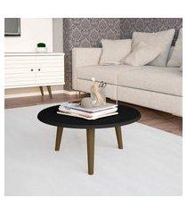 mesa de centro móveis bechara redonda preta fosca