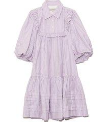 anika puff mini dress in pink stripe
