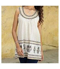 beaded sleeveless cotton top, 'golden magic' (india)