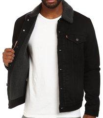 levi's men's black button up denim sherpa jeans trucker jacket 705980032