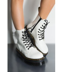 akira dr. martens jadon polished smooth chunky sole bootie in white