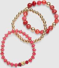 lane bryant women's 3-row heart stretch bracelet set onesz racing red