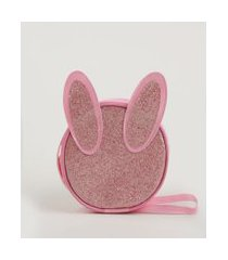 bolsa infantil transversal com orelhas e glitter rosa