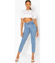 klassieke mom jeans met hoge taille, middenblauw
