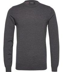 lyle merino crew neck sweater gebreide trui met ronde kraag grijs j. lindeberg