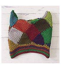 alpaca and wool blend hat, 'festive wari' (peru)