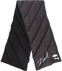 karl lagerfeld ikonik logo padded scarf - black
