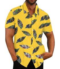 hombre verano algodón estampado playa vacaciones bohemio camisa