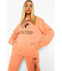acid wash gebleekte oversized universal hoodie met tekst, pale orange
