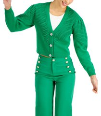 charter club petite puff-sleeve textured cardigan, created for macy's
