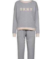 dkny new signature l/s top & jogger pj pyjama grijs dkny homewear