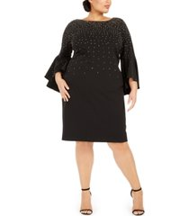 calvin klein plus size studded bell-sleeve dress