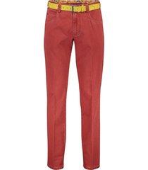 meyer broek diego 5-pocket met riem rood