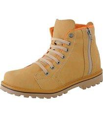 bota  cr shoes coturno casual sapatofran resistente com atacador elástico e zíper lateral amarela