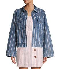 striped bell sleeve denim jacket