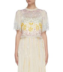 'chakra' rainbow sequin embellished short sleeve tulle top