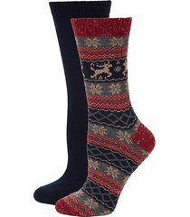 women's 2-pack textured crew socks