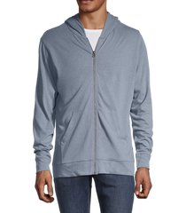 alternative men's hemp-blend zip-up hoodie - laguna blue - size m