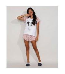 pijama feminino mickey manga curta raglan metalizado branco