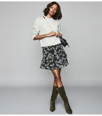 reiss lyon - printed mini skirt in navy, womens, size 10