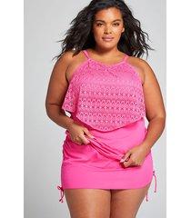 lane bryant women's relaxed no-wire flounce swim tankini top - crochet 22 fuchsia