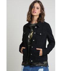 jaqueta de sarja feminina com bolsos preta