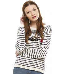 sweater parches bordados multicolor 7.5 setepontocinco