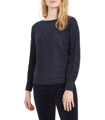 women's nic+zoe all that glitters sweater, size small - blue