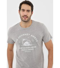 camiseta jack & jones light grey cinza