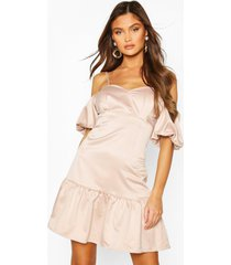 cold shoulder puff sleeve satin skater dress, nude