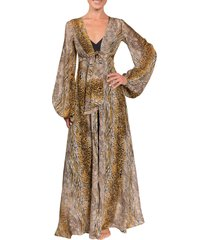 women's everyday ritual bubble sleeve long robe, size small - beige