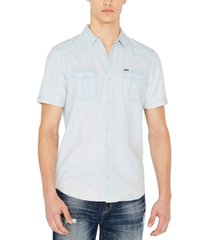 buffalo david bitton men's silous denim woven short sleeve shirt