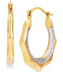 two-tone octagon hoop earrings in 14k gold & white rhodium-plate
