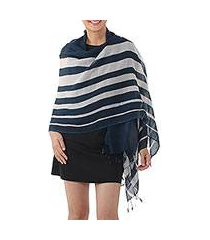 cotton shawl, 'cool stripes in navy' (thailand)