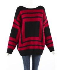 alexander mcqueen red black geometric wool mohair knit sweater men's black/red/geometric sz: custom