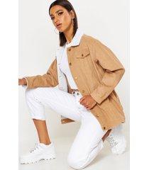 borg long line cord jacket, tan