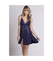 camisola plus size bella fiore modas romantic renda lis azul marinho