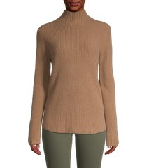 theory women's ribbed cashmere turtleneck sweater - tan - size xl