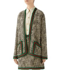 women's gucci web trim wool blend tweed jacket, size 0 us / 36 it - ivory