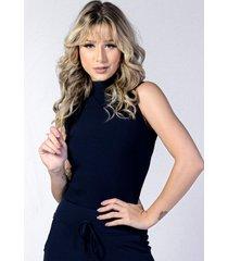 blusa cropped canelado yasmin lingerie ca01 azul marinho - azul marinho - feminino - dafiti