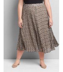 lane bryant women's pleated pull-on midi skirt 18/20 cheetah print