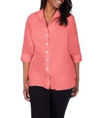 plus size women's foxcroft pandora non-iron tunic shirt, size 20w - red