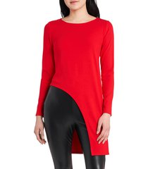 women's vince camuto high/low cutout long sleeve tunic, size x-small regular - red