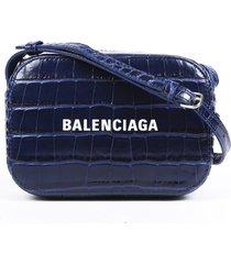balenciaga everyday camera extra small blue croc leather crossbody bag blue/logo sz: m