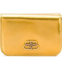 balenciaga bb mini wallet - gold